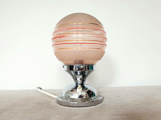 Chrome Desk Lamp with Pink Banded Shade
