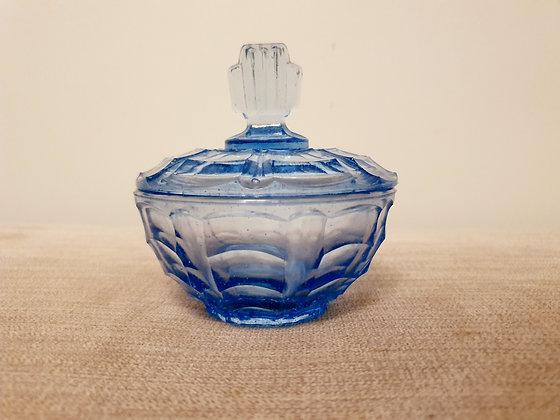 Blue Glass Trinket Pot