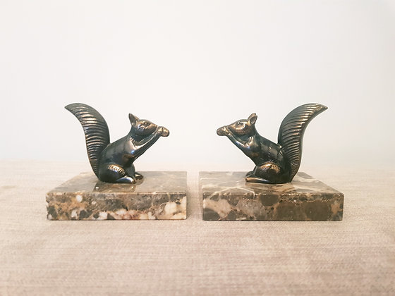 Spelter Pair of Squirrel Bookends