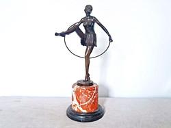 Art Deco Bronze Alonso Dancing Girl with Hoop