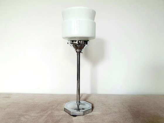 Chrome Lamp with White Shade