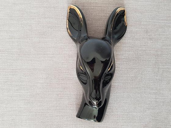 Ceramic Deer Head Wall Pocket 24kt Gilding