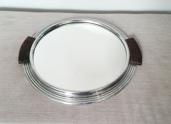 Circular Cocktail Tray with Wooden Handles