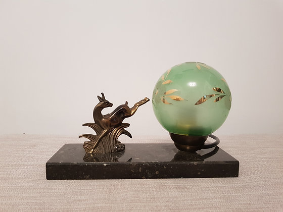French Lamp with Spelter Deer