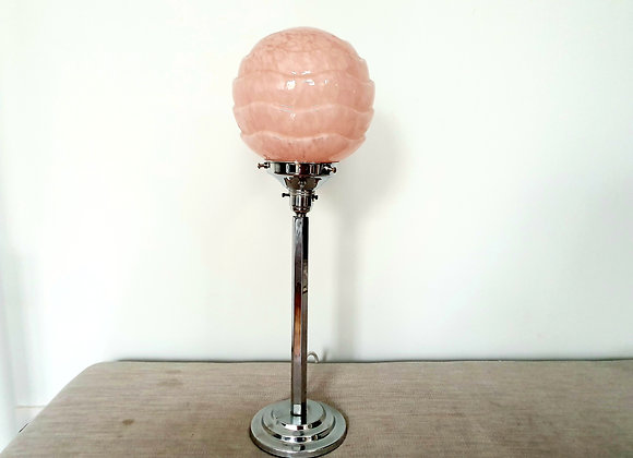 Chrome Lamp with Pink Wavy Shade