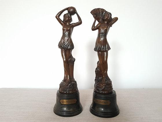 Pair of 'Le Matin & Soir' Spelter Figures