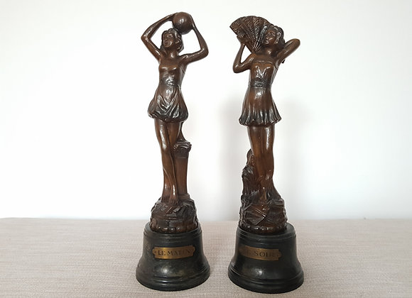 Pair of 'Le Matin & Soir' Spelter Figures