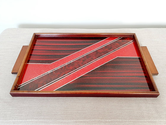 Red & Silver Glass Topped Tray