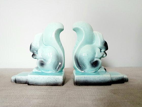 Ceramic Squirrel Bookends