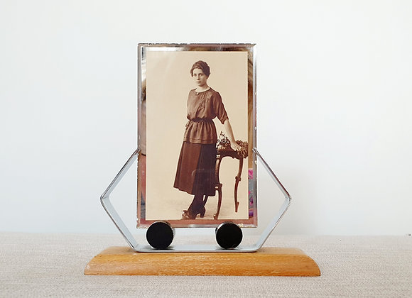 Chrome & Wood Photo Frame