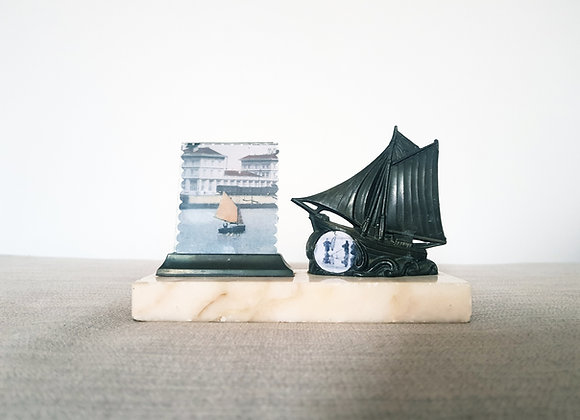 Miniature Marble Photo Frame with Ship