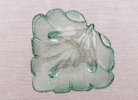 Green Glass Leaf Dish