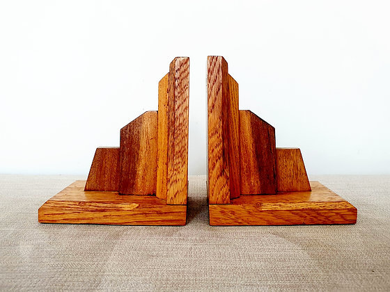 Wooden Stepped Bookends