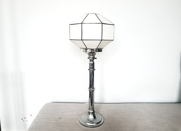 Chrome Lamp with Large White Octagonal Shade