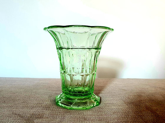 Art Deco Uranium Glass Vase Czech 1930s for sale UK