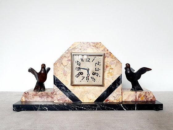 Birds Marble Mantle Clock