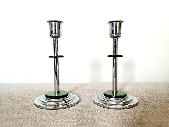 Chrome & Catalin Candlestick Holders