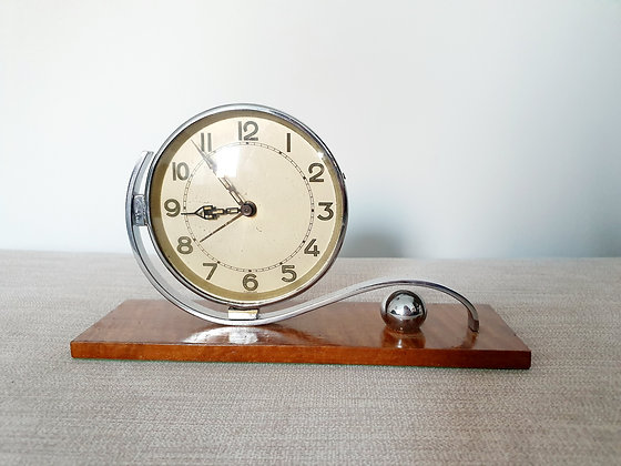 Chrome Alarm Clock on Wooden Base