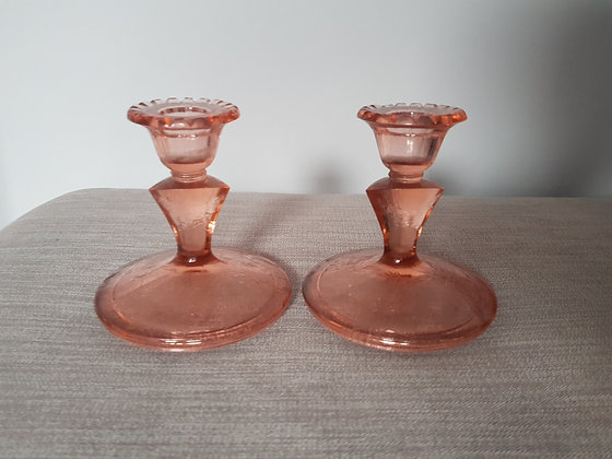 Pink Glass Candlestick Holders
