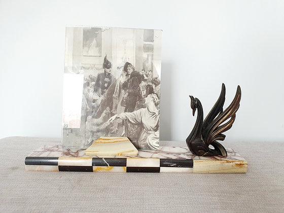 Spelter Bird Marble Photo Frame