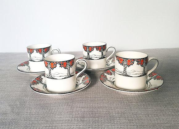 Crown Ducal Orange Tree Coffee Cans x 4