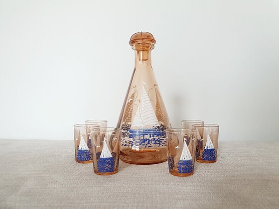 French Sailboat Decanter & Glasses