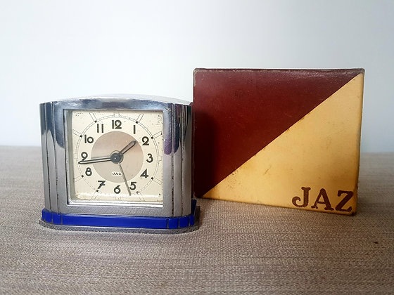 French Chrome & Blue Jaz Alarm Clock