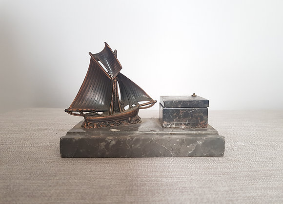 Marble Inkwell with Ship