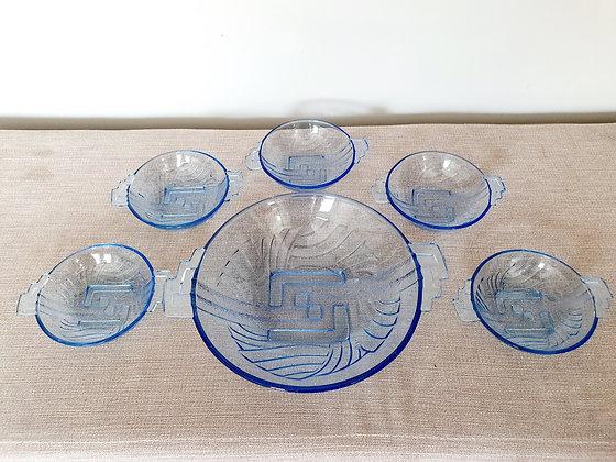 Art Deco Stolzle Glass Dessert Bowls Set