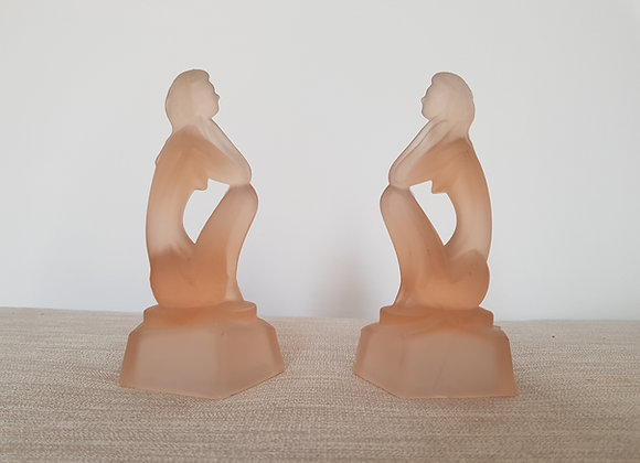 Pair of Glass Cubist Figures