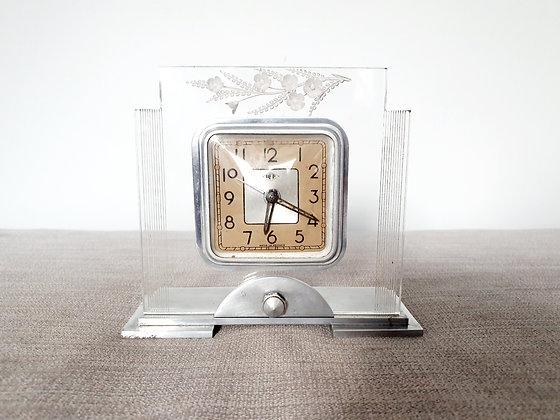 DEP Lucite Floral Clock