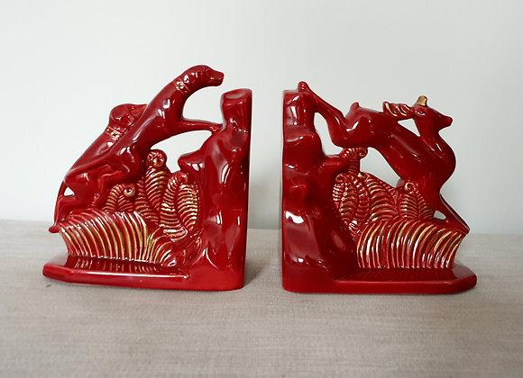 Red Ceramic 'La Chasse' Bookends
