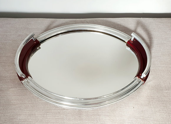 Oval Chrome Tray with Red Detail