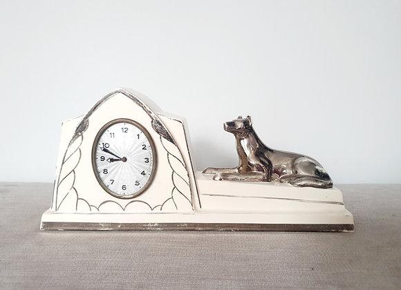 Ceramic Silvered Dog Mantel Clock