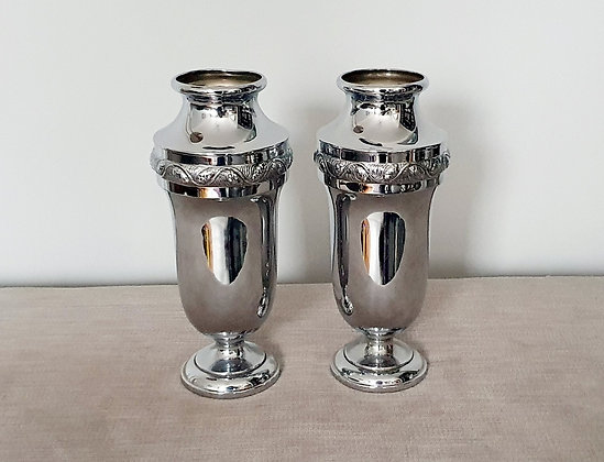 Pair of Chrome Vases