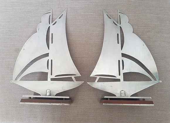 Pair of Chrome Sailing Boat Bookends