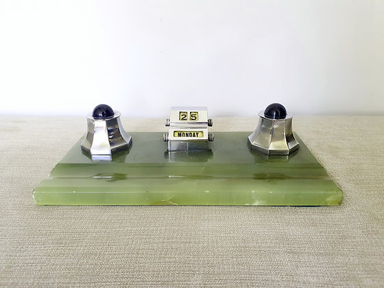 Art Deco Onyx Desk Inkwells Stand