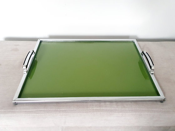 Large Green & Chrome Cocktail Tray