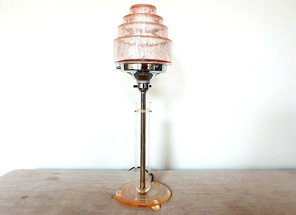 Pink Crackle Shade Lucite Lamp