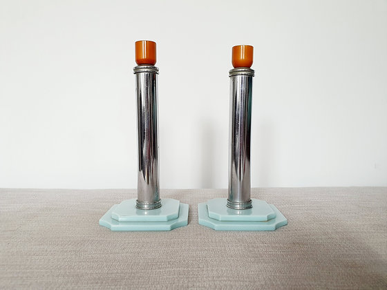 Pair of Chrome & Phenolic Candlestick Holders
