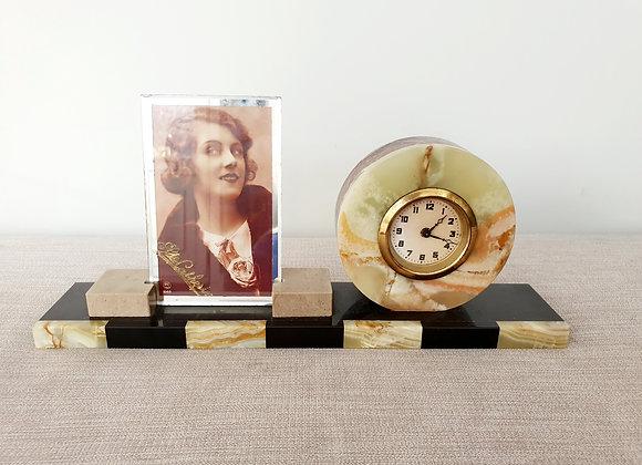 Circular Marble Clock and Photo Frame