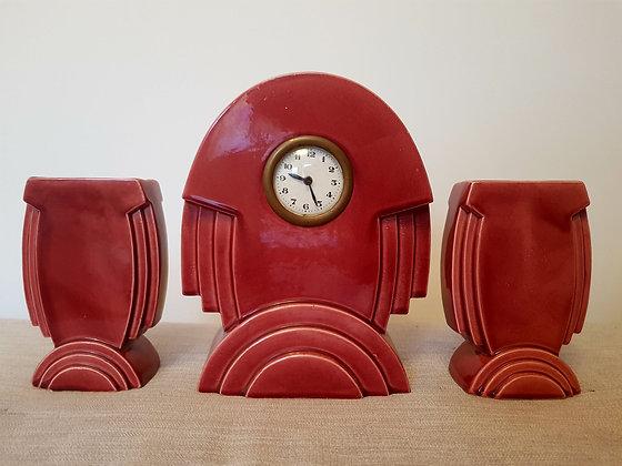 St Clement Rocket Clock Garniture