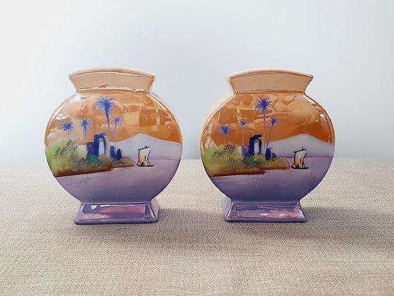 Pair of Noritake Circular Vases