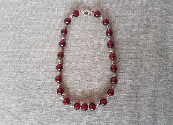 Vintage Red Bead Necklace