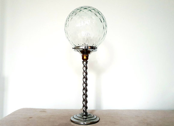 Clear Glass Lamp with Twisted Stem