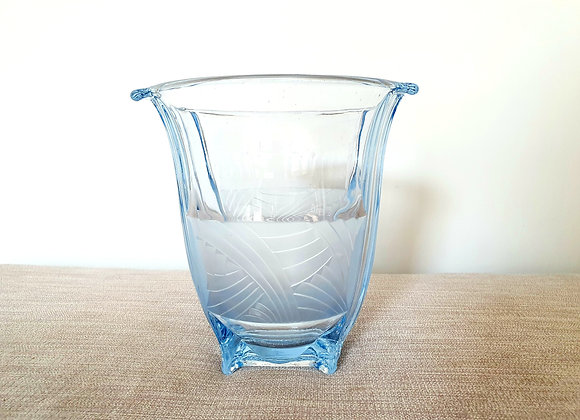 Blue Glass Part Frosted Vase