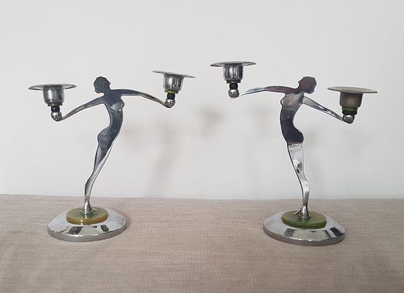 Pair of Chrome Nude Lady Candlestick Holders