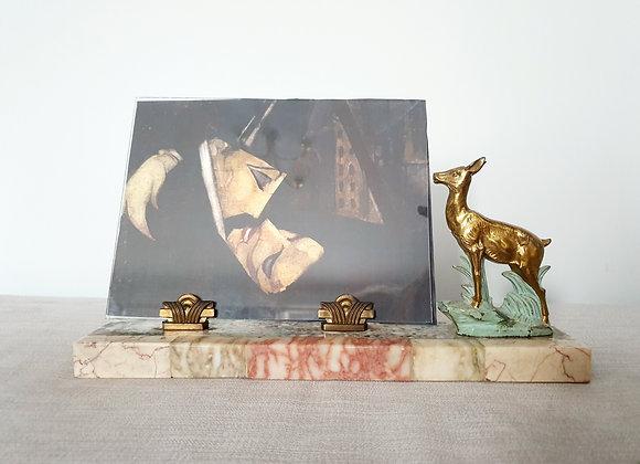 Gilded Deer on Multi Marble Photo Frame