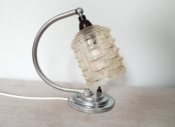 Chrome Crescent Lamp with Smoked Glass Shade