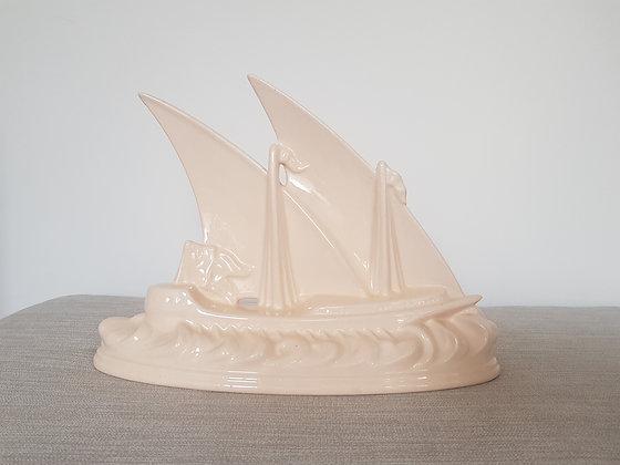 Longwy Pink Glazed Ship